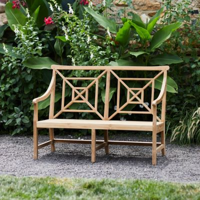 Fretwork Teak Two-Seat Garden Bench