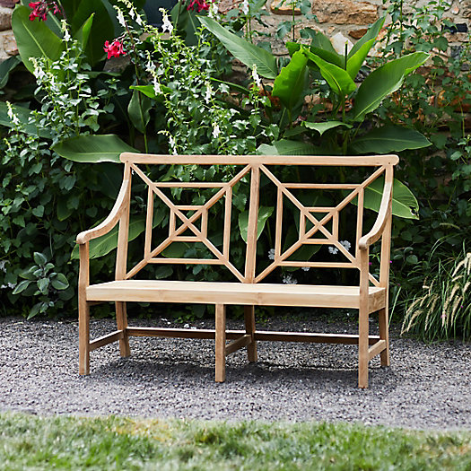View larger image of Fretwork Teak Two-Seat Garden Bench