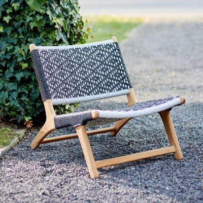 Havana Wicker + Teak Armless Chair, Black and White Diamond