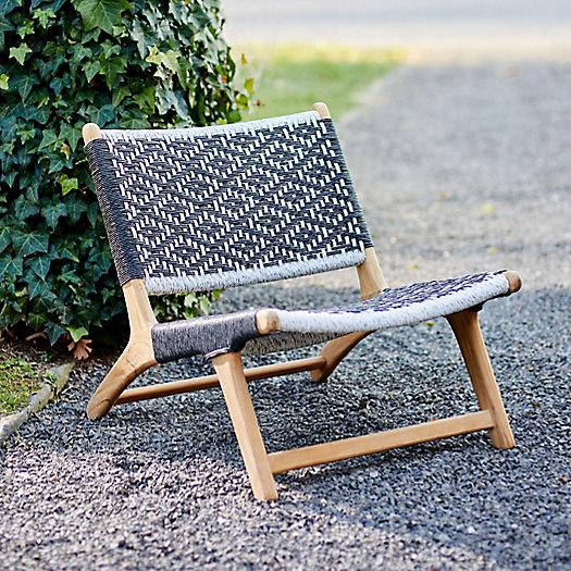 View larger image of Havana Wicker + Teak Armless Chair, Black and White Diamond