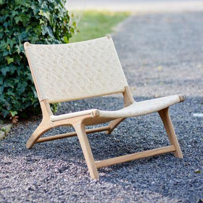 Havana Wicker + Teak Armless Chair, Neutral Diamond