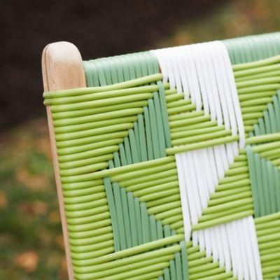 Havana Wicker + Teak Armless Chair, Geo Stripe