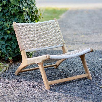 Havana Wicker + Teak Armless Chair, Neutral Chevron