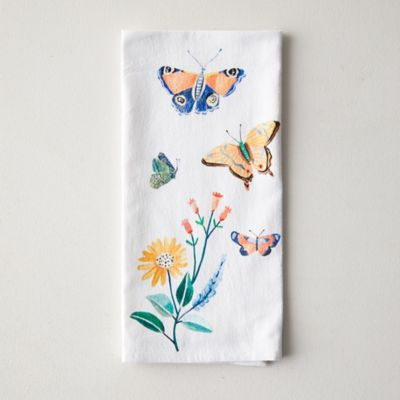 Butterflies + Blooms Dish Towel