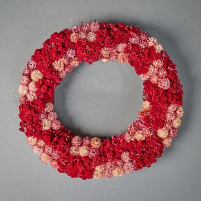 Preserved Pink Yarrow + Strawflower Wreath
