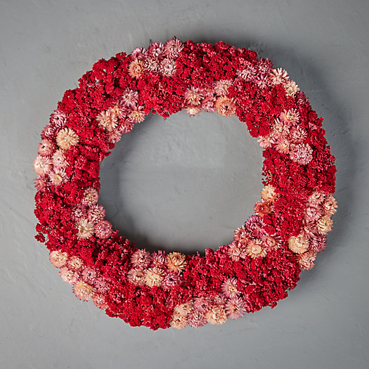 View larger image of Preserved Pink Yarrow + Strawflower Wreath