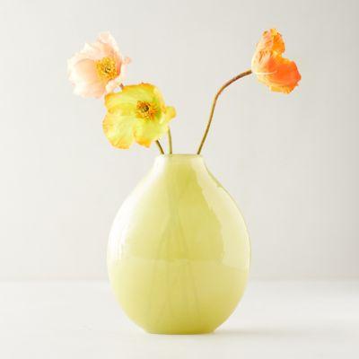 Yellow Hammered Glass Vase