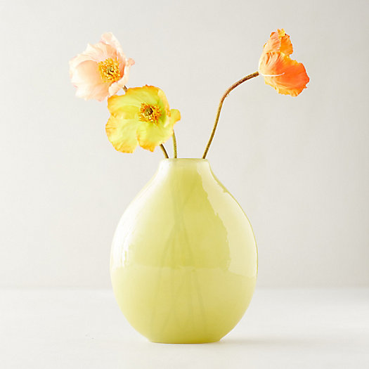 View larger image of Yellow Hammered Glass Vase