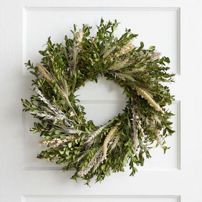 Fresh Boxwood + Larkspur Wreath