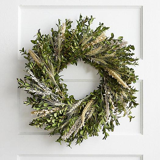 View larger image of Fresh Boxwood + Larkspur Wreath