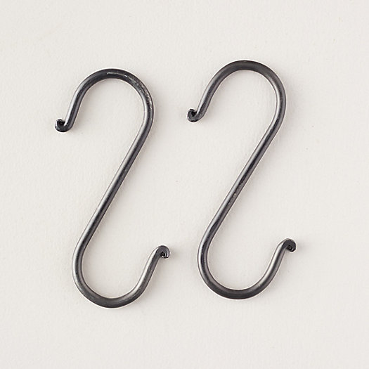 "View larger image of Antique Black Forged Iron Link 2 Hooks, 6"" Set of 2"