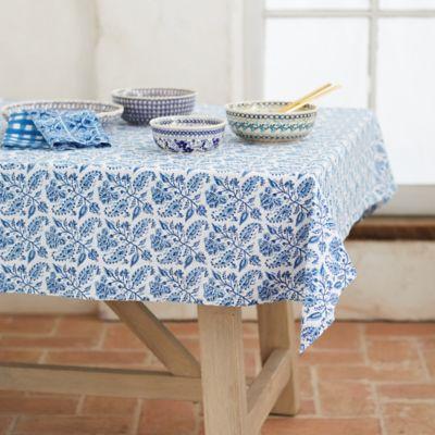 Azure Floral Cotton Tablecloth