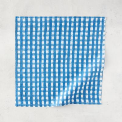 Azure Gingham Cotton Napkin