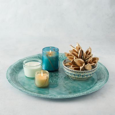 Floral Iron Serving Tray, Teal