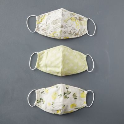 Reusable Organic Cotton Face Masks, Spring Green Set of 3