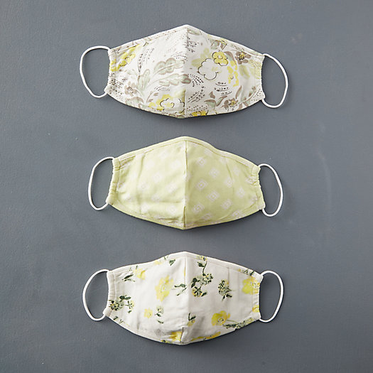 View larger image of Reusable Organic Cotton Face Masks, Spring Green Set of 3