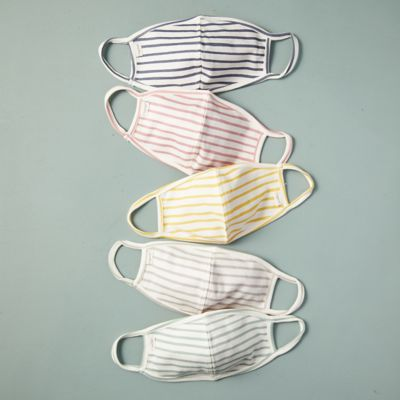 Striped Cotton Adult Size Face Masks, Set of 5