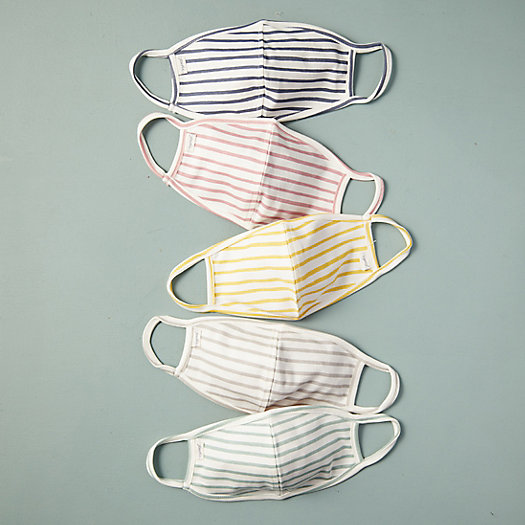 View larger image of Striped Cotton Adult Size Face Masks, Set of 5