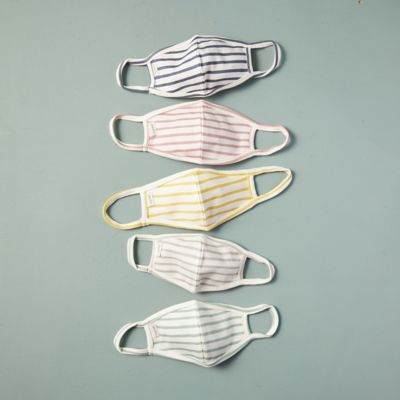 Striped Cotton Child Size Face Masks, Set of 5