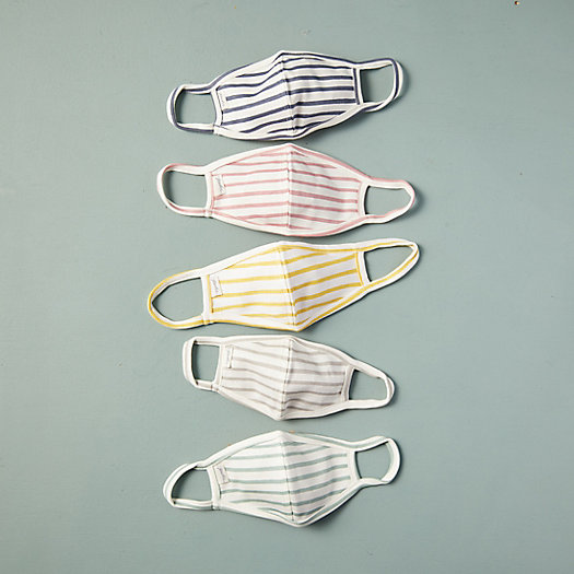 View larger image of Striped Cotton Child Size Face Masks, Set of 5