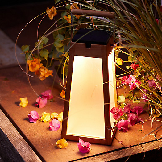 View larger image of Teak LED Solar Lantern