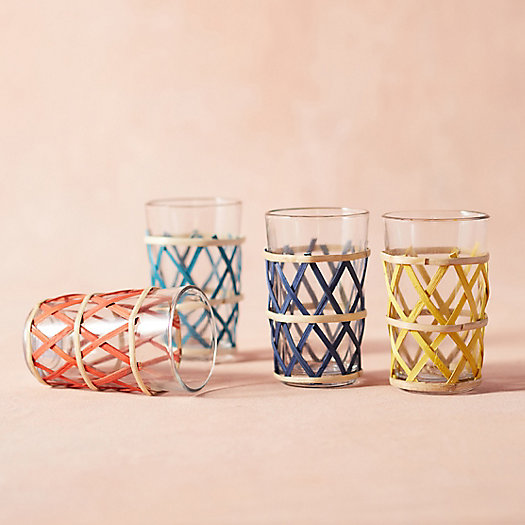 View larger image of Cane Wrapped Tumblers, Set of 4