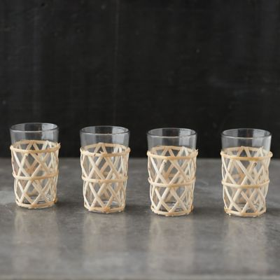 Natural Cane Wrapped Tumblers, Set of 4