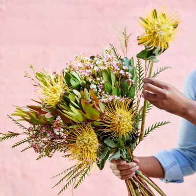 Pincushion, Leucadendron + Waxflower Bouquet