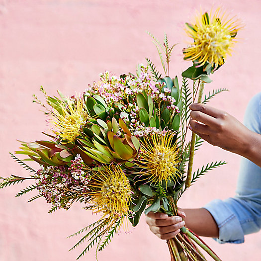View larger image of Pincushion, Leucadendron + Waxflower Bouquet