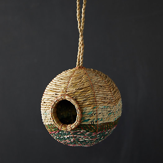 View larger image of Recycled Sari + Seagrass Bird Nest, Round