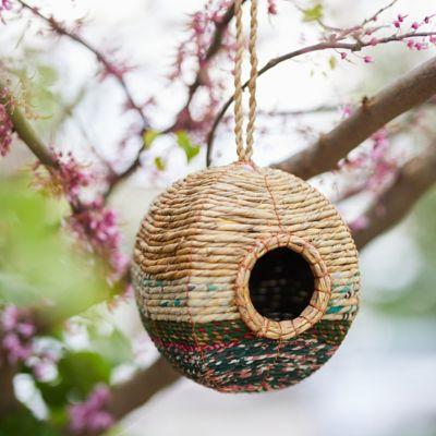 Recycled Sari + Seagrass Bird Nest, Round