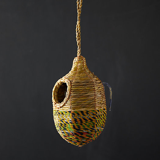 View larger image of Recycled Sari Fabric + Seagrass Bird House, Oval