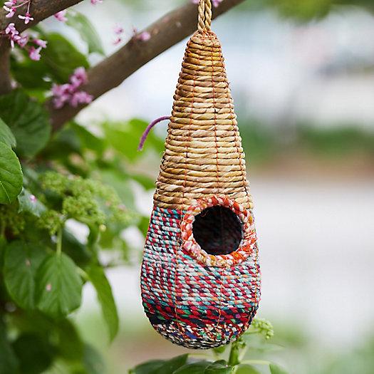 View larger image of Recycled Sari + Seagrass Bird House, Raindrop