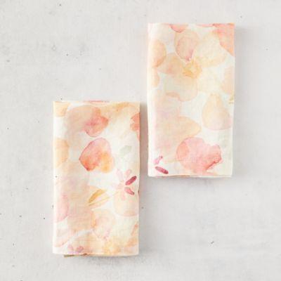 Tangerine Flowers Linen Napkins, Set of 2