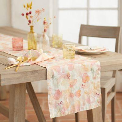 Tangerine Flowers Linen Runner