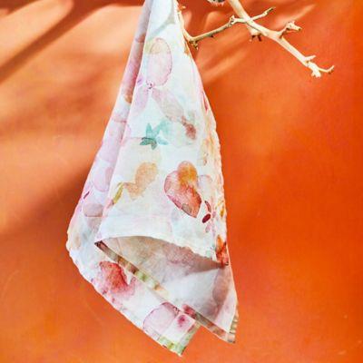 Tangerine Florals Linen Dish Towel