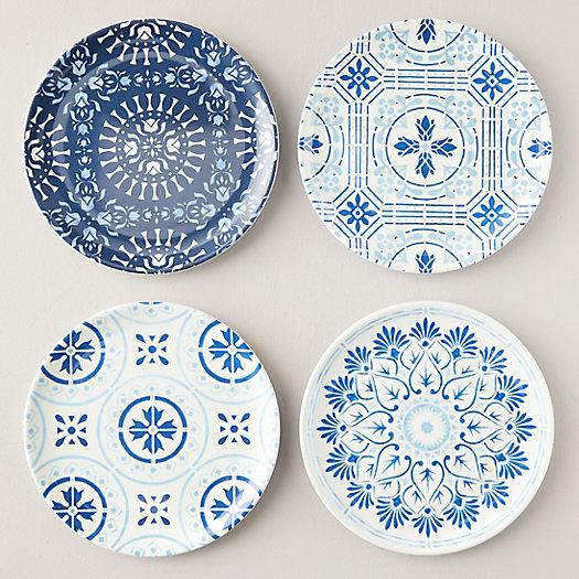 View larger image of Melamine Salad Plate Set of 4, Blue Tile