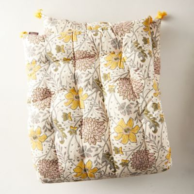 Tufted Cushion, Yellow Florals