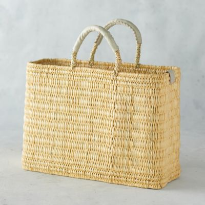 Straw Market Bag with Leather Handle