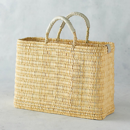 View larger image of Straw Market Bag with Leather Handle