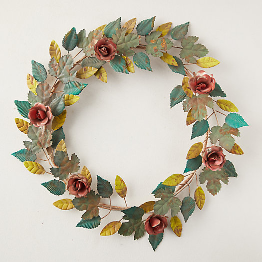 View larger image of Rose + Leaf Iron Wreath