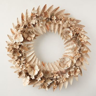 Gilded Pressed Iron Floral Wreath