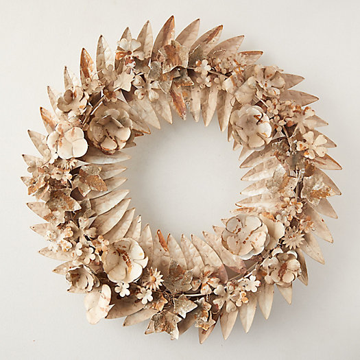View larger image of Gilded Pressed Iron Floral Wreath