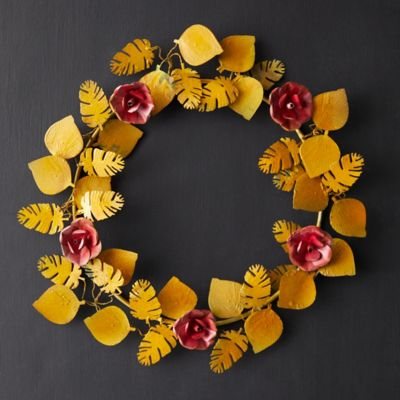 Tropical Florals + Leaves Iron Wreath