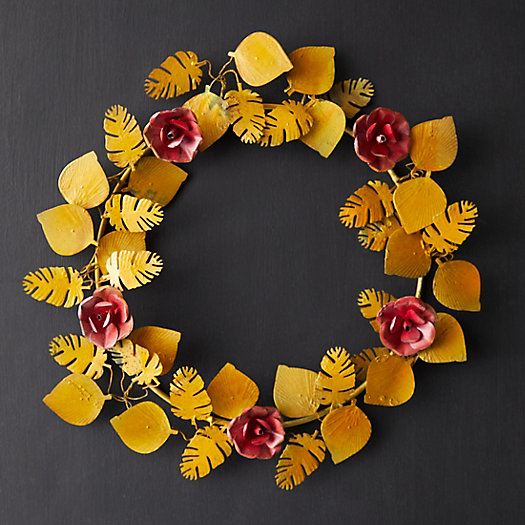 View larger image of Tropical Florals + Leaves Iron Wreath