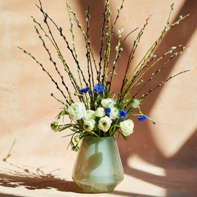 Fresh Blue Cornflower, White Ranunculus, Willow Bouquet