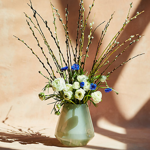 View larger image of Fresh Blue Cornflower, White Ranunculus, Willow Bouquet
