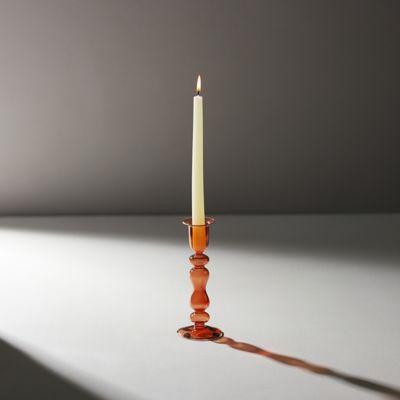 Glass Taper Candlestick, Coral Medium