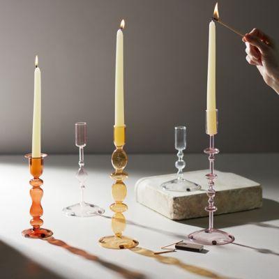 Glass Taper Candlestick, Amber Medium