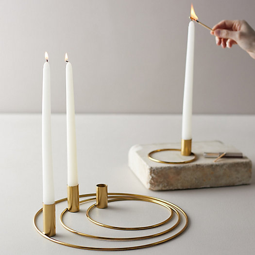 View larger image of Brass Ring Taper Candle Holders, Set of 4